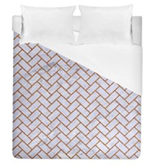 Brick2 White Marble & Rusted Metal (r) Duvet Cover (queen Size) by trendistuff