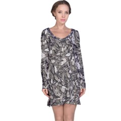 Black And White Leaves Pattern Long Sleeve Nightdress by dflcprints
