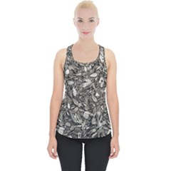 Black And White Leaves Pattern Piece Up Tank Top by dflcprints