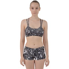 Black And White Leaves Pattern Women s Sports Set by dflcprints