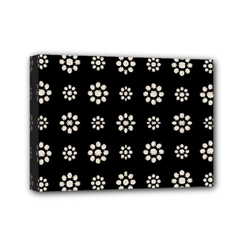 Dark Stylized Floral Pattern Mini Canvas 7  X 5  by dflcprints