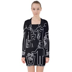 Save The Planet   Religions  V Neck Bodycon Long Sleeve Dress by Valentinaart
