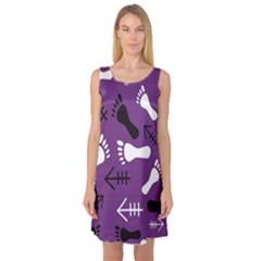 Purple Sleeveless Satin Nightdress by HASHHAB