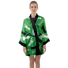 Green Long Sleeve Kimono Robe by HASHHAB