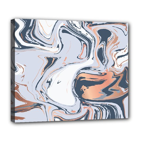 Liquid Gold And Navy Marble Deluxe Canvas 24  X 20   by goljakoff