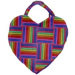Artwork By Patrick Squares Giant Heart Shaped Tote by ArtworkByPatrick