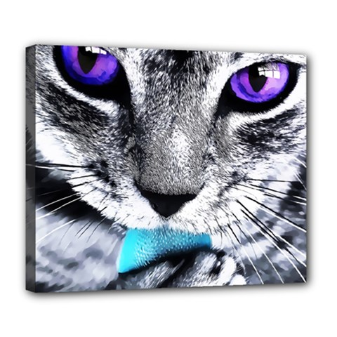 Purple Eyes Cat Deluxe Canvas 24  X 20   by augustinet