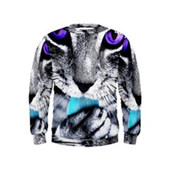 Purple Eyes Cat Kids  Sweatshirt