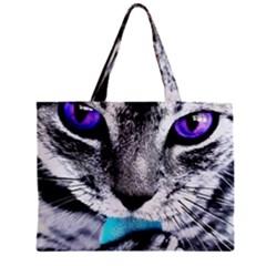 Purple Eyes Cat Zipper Mini Tote Bag by augustinet