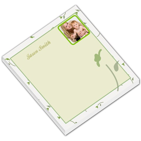 Floral White Border Green Background By Gary Bush   Small Memo Pads   Qne9w24d3kyv   Www Artscow Com