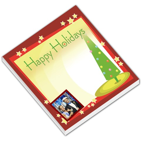Happy Holidays Christmas Tree Red Border By Gary Bush   Small Memo Pads   Sxk7ruuhld2l   Www Artscow Com