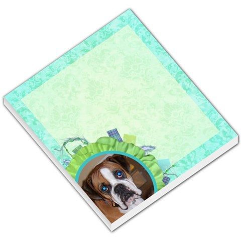 Blue Green Flower Dog Memo By Klh   Small Memo Pads   Sxirbqdjxii4   Www Artscow Com