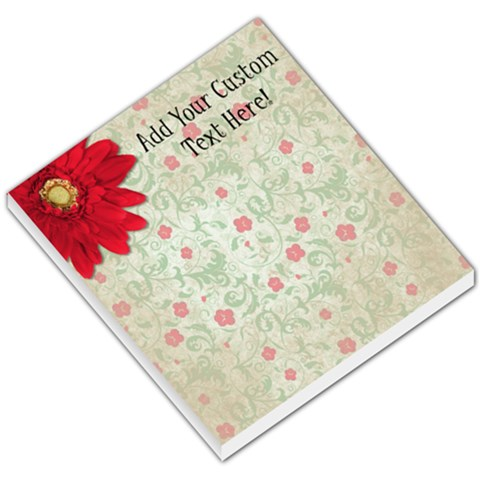 Vintage Red Flowers Memo Pad By Angela   Small Memo Pads   Ltrrijp95mun   Www Artscow Com