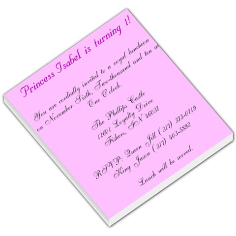 Princess Isabel By Jill Phillips   Small Memo Pads   Zyfo9uzqikg7   Www Artscow Com