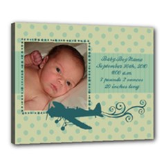Baby Boy Airplane 16x20 Stretched Canvas - Canvas 20  x 16  (Stretched)