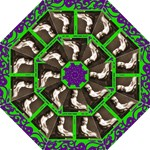 Funky Fantasia acid lime & purple spiral folding umbrella