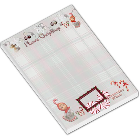 I Love Christmas Angel Candy Cane Cat Remember When Lg Memo Pad Plaid By Ellan   Large Memo Pads   9czia2axc047   Www Artscow Com