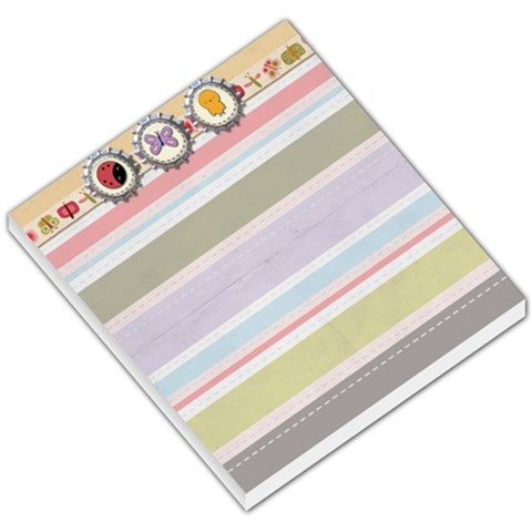 Spring Easter Stripe Small Memo Pad With Chick, Butterfly, And Ladybug By Redhead Scraps   Small Memo Pads   Mzim3i594gby   Www Artscow Com