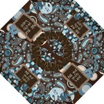Brown Blue Paisley Polka Dot Photo Warm Fuzzy Umbrella - Folding Umbrella