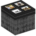 Gray and Black Harlequin Photo Collage Storage Stool Cube - Storage Stool 12