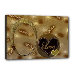 I Heart You gold 18x12 stretched Canvas - Canvas 18  x 12  (Stretched)