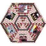 Pink Argyle Floral Vines Umbrella - Mini Folding Umbrella