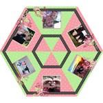 Pink Green Polka Dot Floral Vines Umbrella - Mini Folding Umbrella
