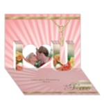 Pink I Love You 3D Card - I Love You 3D Greeting Card (7x5)