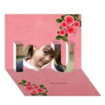 I Love You 3D Card(7x5) : Roses - I Love You 3D Greeting Card (7x5)