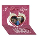 LOVE You This Much pink 3d card - Heart 3D Greeting Card (7x5)