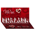 We re engaged RED heart 3d card - ENGAGED 3D Greeting Card (8x4)