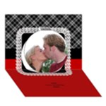 Red Black and White General 3D Card - Circle 3D Greeting Card (7x5)