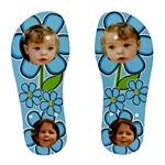 Blue Bloom Flip Flips - Women s Flip Flops