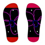 flowers on red -flip flops (women) - Women s Flip Flops