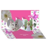 General Pink Princess 3d 2 Heart Card - Twin Hearts 3D Greeting Card (8x4)