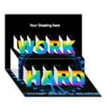 Work hard London 3d Card - WORK HARD 3D Greeting Card (7x5)