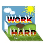 David 3D card - Work Hard - WORK HARD 3D Greeting Card (7x5)