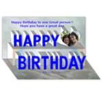Blue Floral Birthday Card - Happy Birthday 3D Greeting Card (8x4)