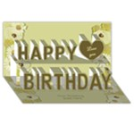 3D Happy Birthday in Light Gold - Happy Birthday 3D Greeting Card (8x4)