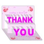 Heart Felt Thank You card (7 x 5) - THANK YOU 3D Greeting Card (7x5)