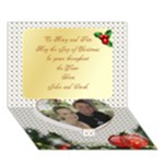 Merry Christmas 3D heart Card 2 - Heart Bottom 3D Greeting Card (7x5)
