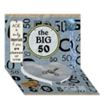 50th Birthday 7x5 3D Card - Heart Bottom 3D Greeting Card (7x5)
