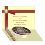 Santa and Tree Strar light 3d Card 7 x 5 - Circle Bottom 3D Greeting Card (7x5)