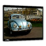 1955 Iris Blue VW Beetle Oval Window Canvas 24  x 20  (Stretched)