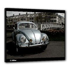 1955 VW Beetle Oval Window  Iris Blue B&W Canvas 24  x 20  (Stretched)