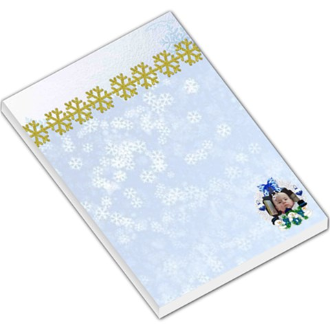 Bl;ue Snowflake Large Memo Pad By Maryanne   Large Memo Pads   7i9kddn2tf3f   Www Artscow Com