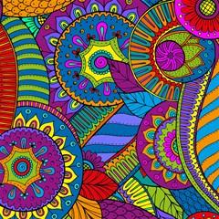 pop art paisley flowers ornaments multicolored