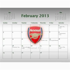 Arsenal Calendar Iii By Gj   Wall Calendar 11  X 8 5  (12 Months)   Qntu3ao4u32h   Www Artscow Com Feb 2013
