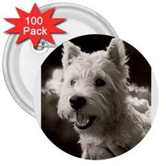 Westie Puppy 100 Pack Large Button (round) by Koalasandkangasplus