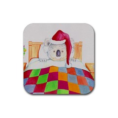 Santa In Bed Jpg Rubber Drinks Coaster (square)